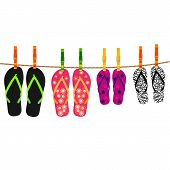 Family flip flops with rope and clothespins