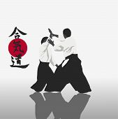 pic of aikido  - illustration men are engaged in aikido on a light background - JPG