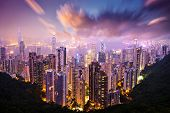 Skyline de Hong Kong, China de Victoria Peak.