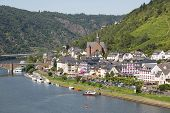 stock photo of moselle  - Aerial cityview of Cochem along river Moselle in Germany - JPG