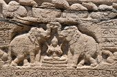 Hindu Goddess Of Prosperity With Two Elephants