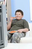 Smiling overweight boy eating carrot sticks in front of television