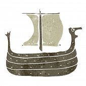 stock photo of viking  - retro cartoon viking ship - JPG