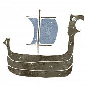 retro cartoon viking ship