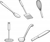 kitchen tools illustrations set