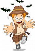Illustration of Kid Boy Running Away from Bats