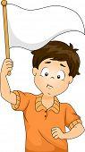 Illustration of Kid Boy Waving a Blank White Flag