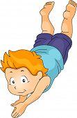 Ilustración de niño chico bucear bajo el agua