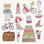 Travel concept set in vector. Cartoon hipster cat with bicycle, dog, ice-cream, sail boat, cases, ch