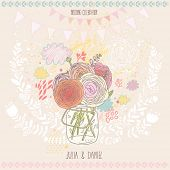 Stylish save the date card in vector. Beautiful ranunculus bouquet in a jar on floral background. Id