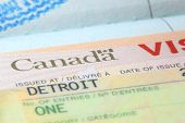 Close up shot of Canadian visa stamp