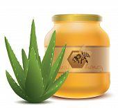 Aloe Vera and jar with honey