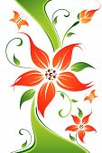 Abstract Vector Flower Background mit Schmetterling