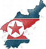 Distressed Style North Korea Flag and Map