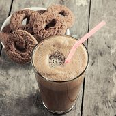 picture of frappe  - Greek coffee cold Frappe drinkl and biscuits on table - JPG