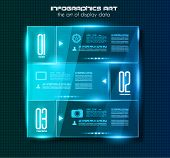 Infographic design template with glass surfaces. Ideal to display information, ranking and statistic