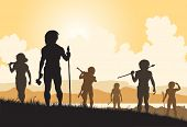stock photo of hunters  - Editable vector silhouettes of cavemen hunters on patrol - JPG