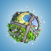 image of life-support  - concept globe showing diversity transport and green energy in a cartoony style - JPG
