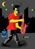 A Man Playing Sax