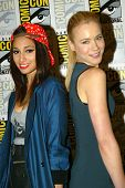 SAN DIEGO, CA - JULY 20: Meaghan Rath and Kristen Hager arrive at the 2013 Comic Con press room at t