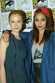 SAN DIEGO, CA - JULY 20: Kristen Hager and Meaghan Rath arrive at the 2013 Comic Con press room at t