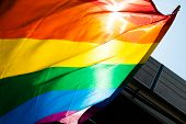 Chicago, Il - June 30: A rainbow flag waives in the sunlight during the 44th annual Chicago Gay Prid
