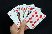 Royal flush poker hand.
