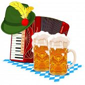 Oktoberfest design with accordion, beer and Bavarian hat