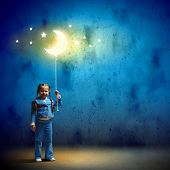 image of goodnight  - Image of little cute girl with moon on rope - JPG