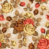 Vintage seamless rose floral pattern