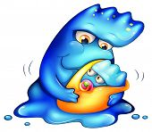 Illustration of a caring blue monster on a white background