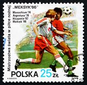 Postage Stamp Poland 1986 Soccer Players In Action