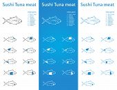stock photo of kama  - Fresh Tuna meat parts Icons for packaging and info - JPG