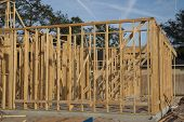 JACKSONVILLE, FLORIDA, USA-SEPTEMBER 15, 2013: Part of a new home under construction in Florida. New