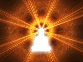 stock photo of karma  - Silhouette of a Buddha with a white glow - JPG