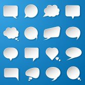 Modern paper speech bubbles set on blue background for web, banners, layouts, mobile applications et