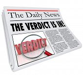 The Verdict is In Newspaper Headline Announcing Judgment Decision