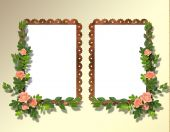 Two Frameworks For Photo On The Abstract Background With Flowers.