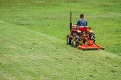 Man On Mower Cutting Grass