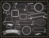 Chalkboard Ribbons, Banners and Frames - Set of grungy blackboard design elements, including ribbons, banners, bookmarks, borders and frames