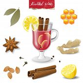 mulled wine ingredients over white background
