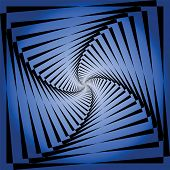 Torsion movement illusion. Abstract blue background. Vector art.