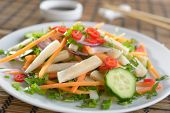 Squid salad with carrot, onion, cucumbers, chili peppers, and soy sauce