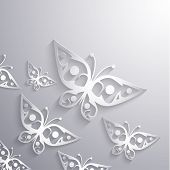 Paper 3d butterflies background - eps10 vector