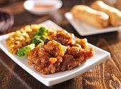 stock photo of fried chicken  - chinese orange chicken with fried rice - JPG