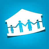 image of single woman  - house with family symbols vector illustration - JPG