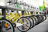 Yellow Bicycles For Public Transport