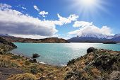 Magic turquoise lake Pehoe national park Torres del Paine, Chile. Majestic rocks Los Kuernos on the