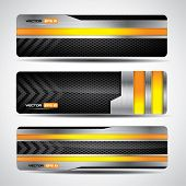 Banner set, metallic and carbon layout with yellow design elements