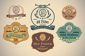 Set of retro-styled seafood labels including a portrait of a fisherman. Editable vector.